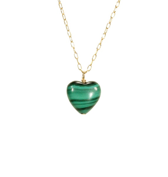 Malachite necklace, green stone pendant, love necklace, healing heart necklace, crystal necklace, gift for her on a 14k gold filled chain