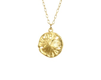 Gold sand dollar necklace, delicate necklace, beach necklace, silver sea star, a 14k gold vermeil sand dollar on a 14k gold filled chain