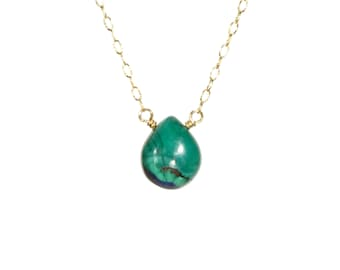 Malachite necklace, azurite necklace, green mineral pendant, drop necklace, healing stone, wire wrapped stone - 14k gold filled necklace