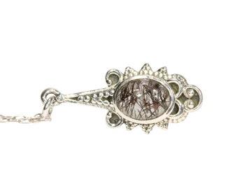 Moon necklace, black rutilated quartz crescent moon, crystal moon, black crystal necklace, tourmalated quartz, tourmaline necklace