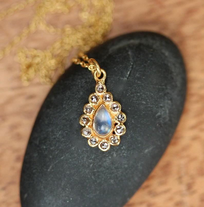 Diamond and moonstone necklace teardrop necklace diamond necklace 18k gold moonstone necklace wedding necklace
