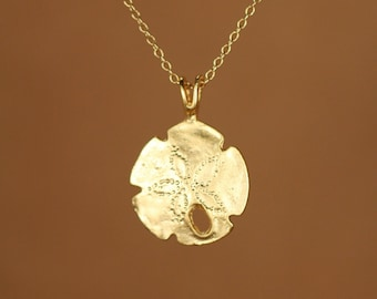 Sand dollar necklace, gold sand dollar pendant, beach necklace, starfish jewelry, a 14k gold vermeil sand dollar on a 14k gold filled chain