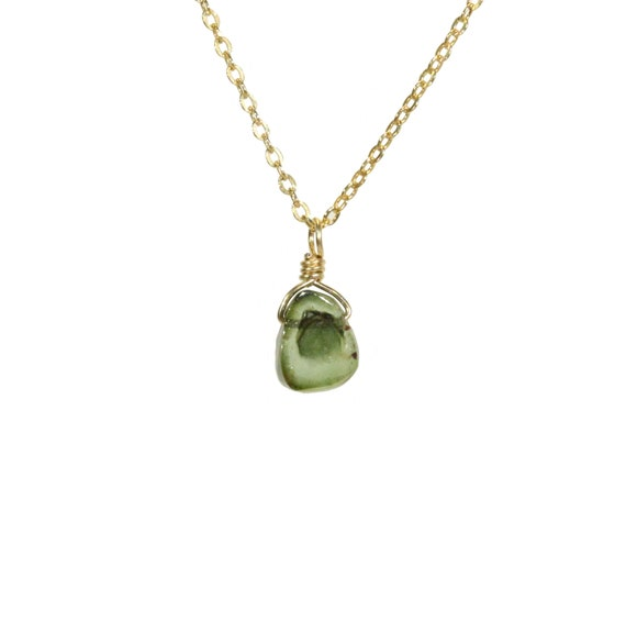Tourmaline necklace, green tourmaline jewelry, healing crystal necklace, boho necklace, a tiny slice of tourmaline on 14k gold filled chain
