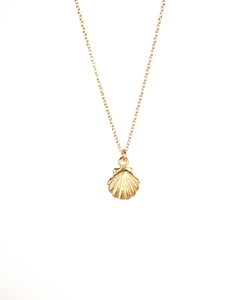 a0874b70656cb Tiny shell necklace - gold shell necklace - sea shell necklace - scallop  necklace - a tiny gold clam shell on a 14k gold vermeil chain
