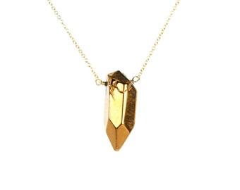 Quartz necklace - crystal quartz necklace - gold crystal necklace - a gold plated quartz wand wire wrapped on a 14k gold vermeil chain