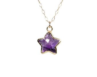 Amethyst star necklace, February birthstone, purple star pendant, healing crystal necklace, celestial necklace, 14k gold filled necklace