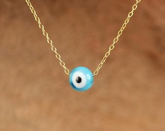 Eye necklace - gold evil eye necklace - blue evil eye - evil eye silver necklace - a little blue glass eye on a 14k gold vermeil chain