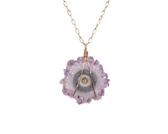 Amethyst stalactite necklace, solar quartz, raw crystal star, healing crystal, a natural amethyst solar quartz on a 14k gold filled chain