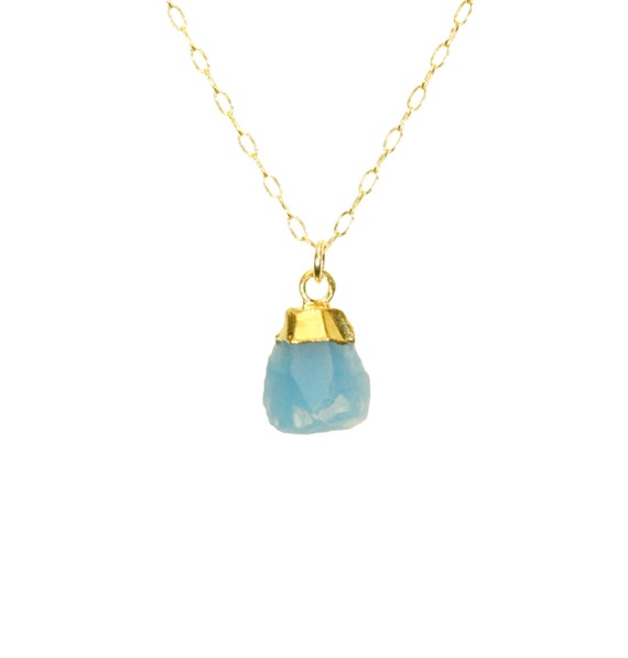 Chalcedony necklace, raw blue chalcedony pendant, raw crystal necklace, blue stone necklace, boho necklace, 14k gold filled chain
