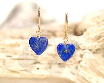 Heart earrings, lapis earrings, blue heart earrings, lapis heart dangle earrings, gift under 30, September birthstone, something blue,