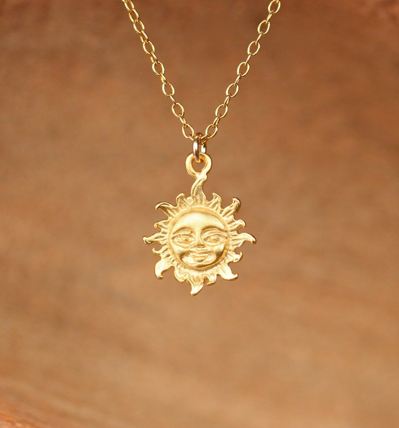 Sun necklace  sunshine necklace  gold sun  you are my image 0