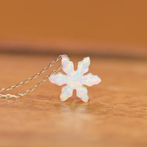 Holographic snowflake necklace christmas circular silver resin pendant with small snowflake charm on sterling silver plated chain