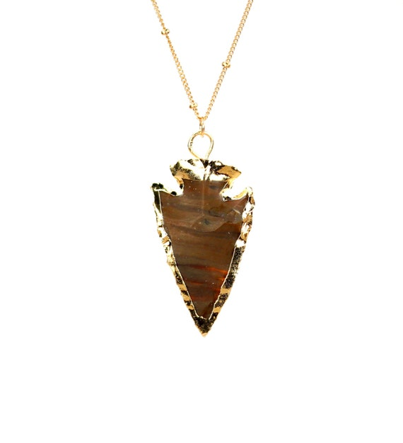 Arrowhead necklace, stone arrowhead pendant, spear necklace, spike necklace, tribal, a gold lined arrowhead on a 14k gold filled chain