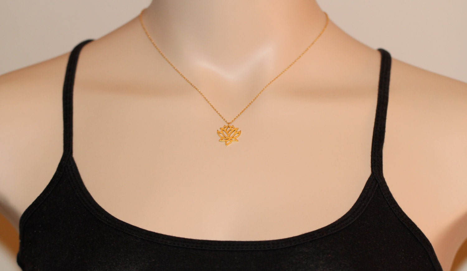 Lotus Necklace Gold Lotus Flower Yoga Necklace Flower Necklace
