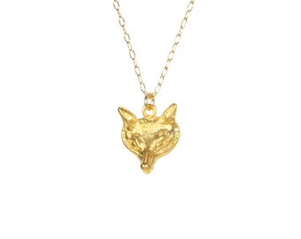 Wolf necklace, gold fox necklace, fox head pendant, sly fox, silver fox, a 14k gold vermeil wolf charm on a 14k gold filled chain