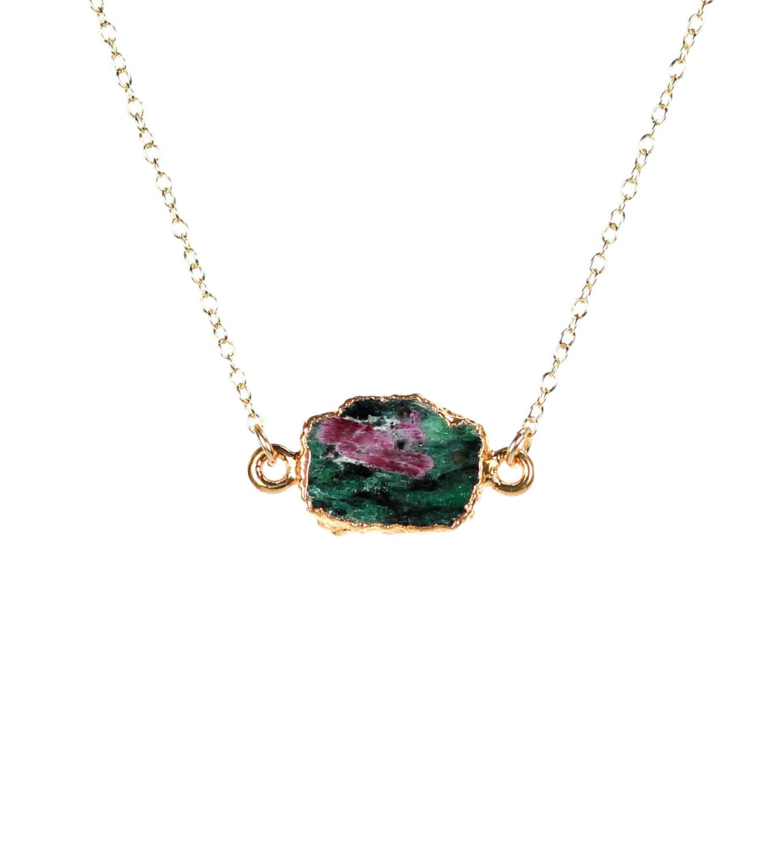 Anyolite Layering Jewelry Heart Chakra Jewelry Boho Holiday Gift Ruby Zoisite Necklace Arrowhead Gemstone Pendant