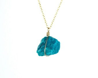 Chrysocolla necklace - mineral necklace - turquoise stone necklace - a raw chrysocolla wire wrapped onto a 14k gold vermeil chain