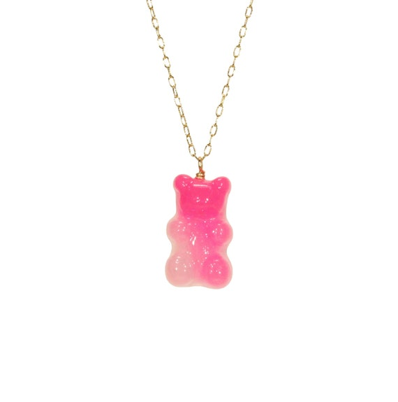 Gummy bear necklace, cute candy necklace, colorful fun necklace, kawaii, a juicy gummy bear on a 14k gold filled chain