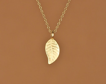 Leaf necklace - gold leaf necklace - nature necklace - organic jewelry - nature - a 22k gold plated leaf on a 14k gold vermeil chain