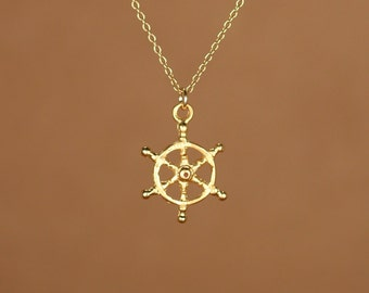 Ship wheel necklace - captains wheel - nautical necklace - beach - a 22k golf vermeil ships wheel on a 14k gold fileld chain