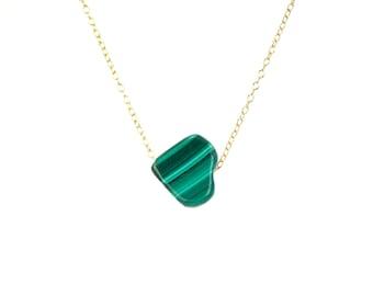 Malachite necklace - heart necklace - love necklace - green stone necklace