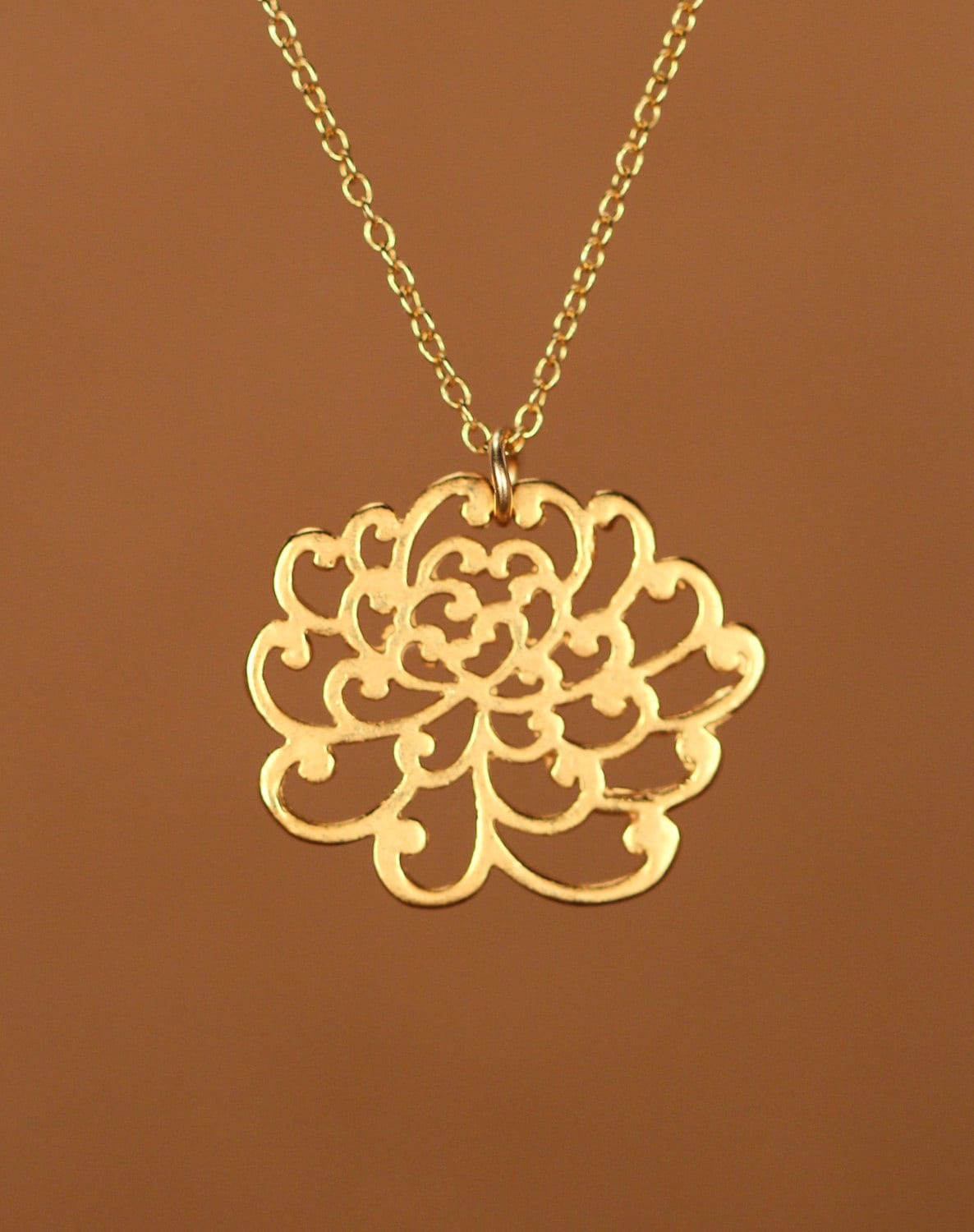 Lotus Necklace Gold Lotus Flower Necklace Yoga Necklace