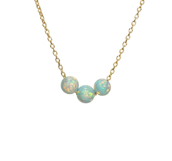 Opal necklace, dot necklace, dainty gold chain, simple jewelry, everyday necklace, three aqua opal beads on a 14k gold filled chain