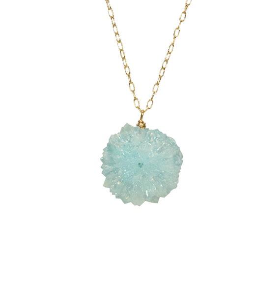 Aqua aura quartz necklace, solar quartz pendant, blue stalactite necklace, healing crystal, a raw crystal circle on a 14k gold filled chain