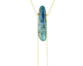 Kyanite necklace - crystal necklace - blue kyanite - beach - mineral necklace - a kyanite bar wire wrapped onto 14k gold vermeil chain -7440