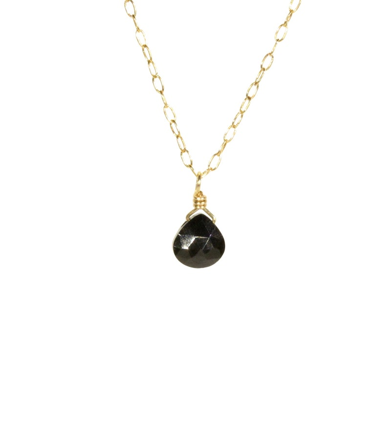 black tourmaline crystal 14k gold filled everyday necklace Tiny tourmaline necklace black crystal necklace chakra necklace