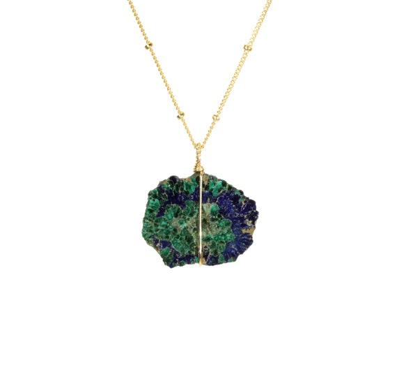 Azurite necklace, Malachite necklace, raw crystal necklace, healing crystal, green stone, a wire wrapped malachite slice from Kazakhstan