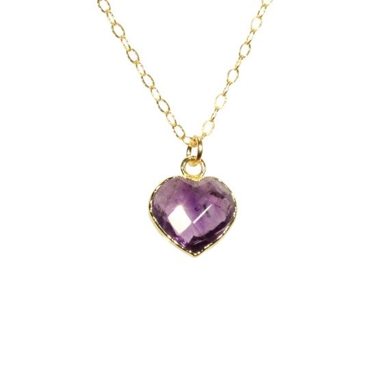 Amethyst heart necklace, crystal heart pendant, purple heart jewelry, February birthstone, healing crystal, love, 14k gold filled necklace