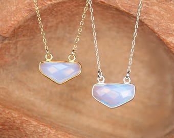 Opalite necklace - triangle necklace - geometric necklace - crystal necklace - gold bezel necklace