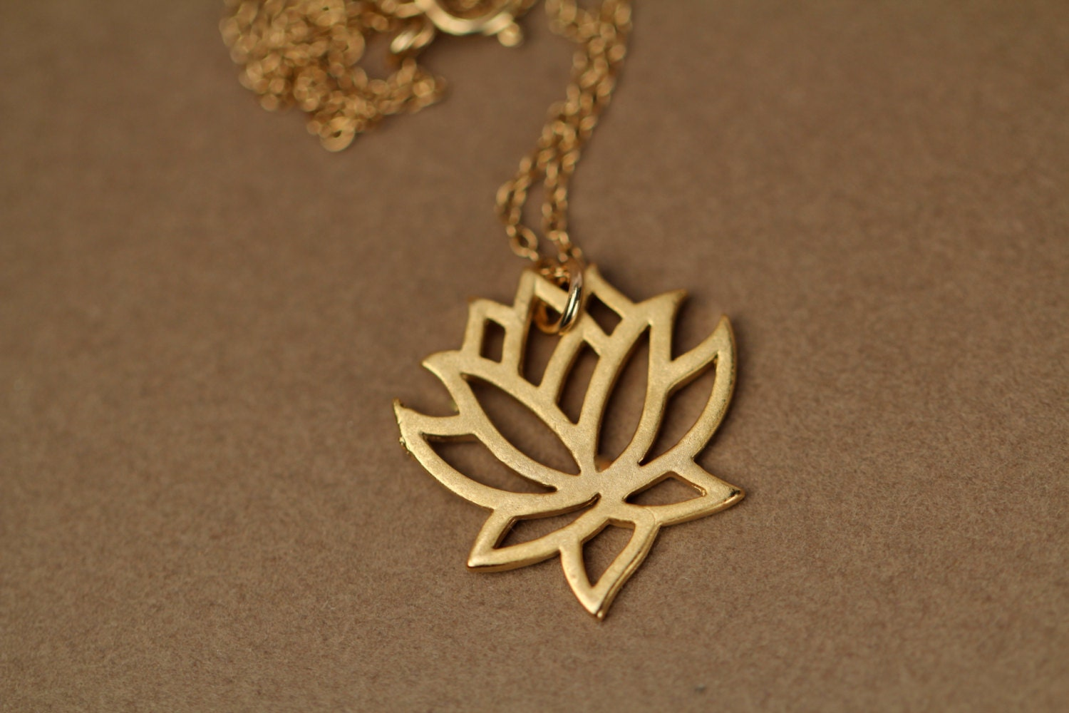 Lotus Necklace Gold Lotus Flower Yoga Necklace Blooming Flower