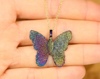 Butterfly necklace - rainbow necklace - leaf cutout - real leaf necklace - monarch butterfly necklace - whimsical necklace