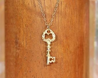 Key necklace, gold necklace necklace, tiny gold skeleton key, best friends necklace, a 14k gold vermeil key on a 14k gold filled chain