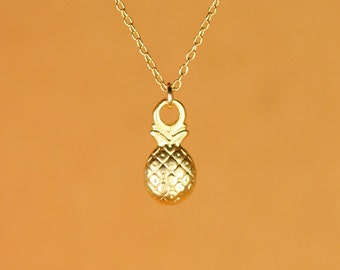 Pineapple necklace - little gold pineapple necklace - fruit jewelry - cute - fun - a 22k gold overlay pineapple on a 14k gold vermeil chain