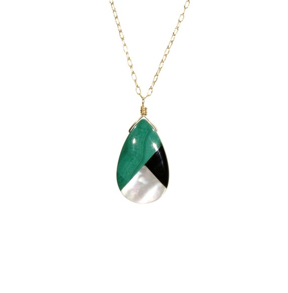 Malachite necklace with black onyx and mother of pearl, statement necklace, multi color teardrop pendant, healing stone, 14k gold filled