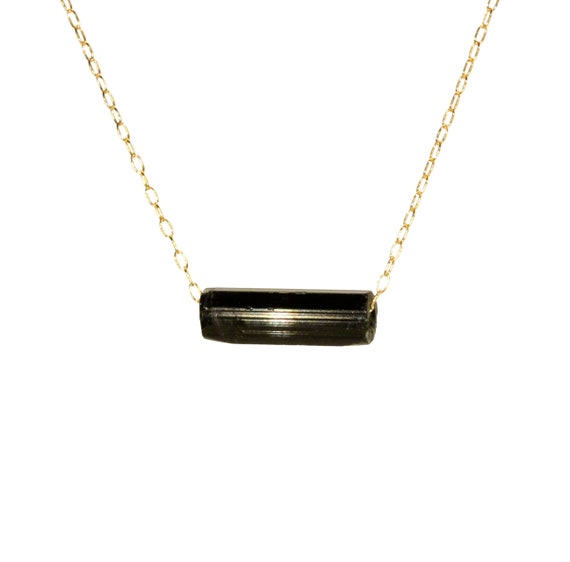 Tourmaline necklace, raw crystal jewelry, black crystal schorl necklace, a raw black healing crystal on a 14k gold filled chain