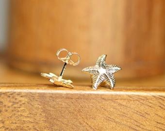 Starfish earrings, gold filled sea star earrings, beach jewelry, 14k gold filled earrings, summer earrings, cute stud earrings, boho studs
