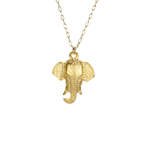 Elephant necklace, lucky gold elephant, good luck necklace, traditional Indian necklace,  14k gold filled chain