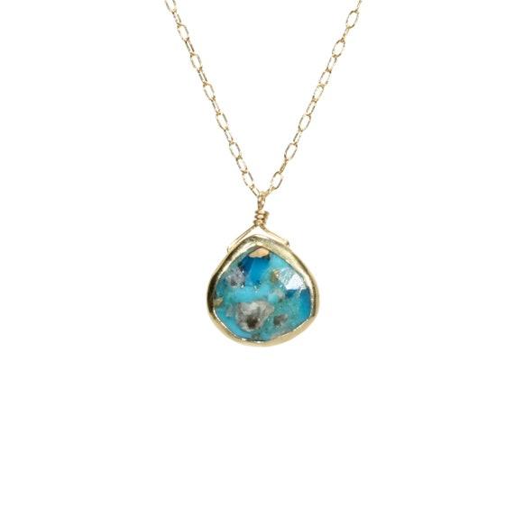 Turquoise necklace, gold bezel drop necklace, green gemstone pendant, green teardrop necklace, healing stone, boho necklace