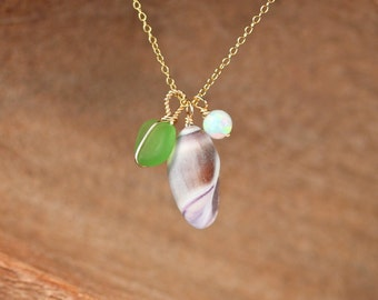 The malibu necklace, sea treasure necklace, sea glass necklace, shell necklace - opal necklace, a cluster of gems on a 14k gold filled chain