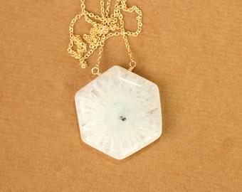 Solar quartz necklace - stalactite - crystal necklace - a hexagon solar quartz wire wrapped onto a 14k gold vermeil chain - SALE