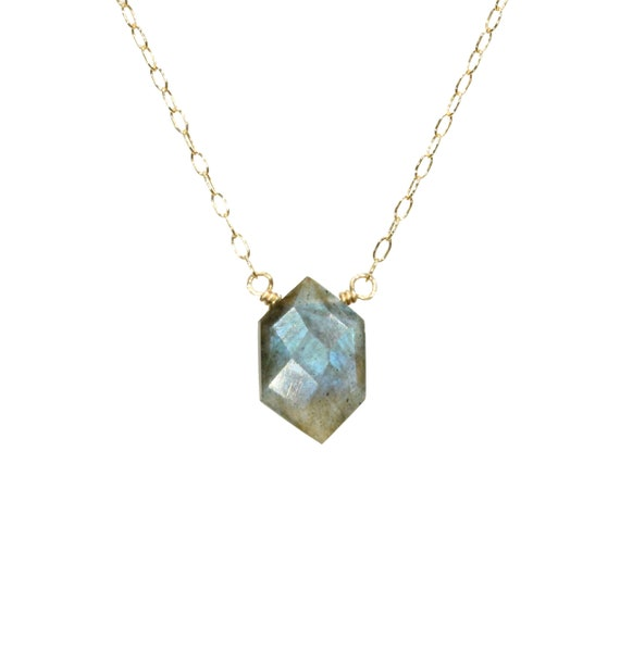 Labradorite necklace, blue crystal necklace, rainbow crystal pendant, hexagon necklace, moonstone necklace, blue stone, 14k gold filled
