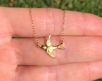 Dainty sparrow necklace, gold bird pendant, flying bird jewelry, layering necklace, feminine necklace, cute gift for her, swallow necklace