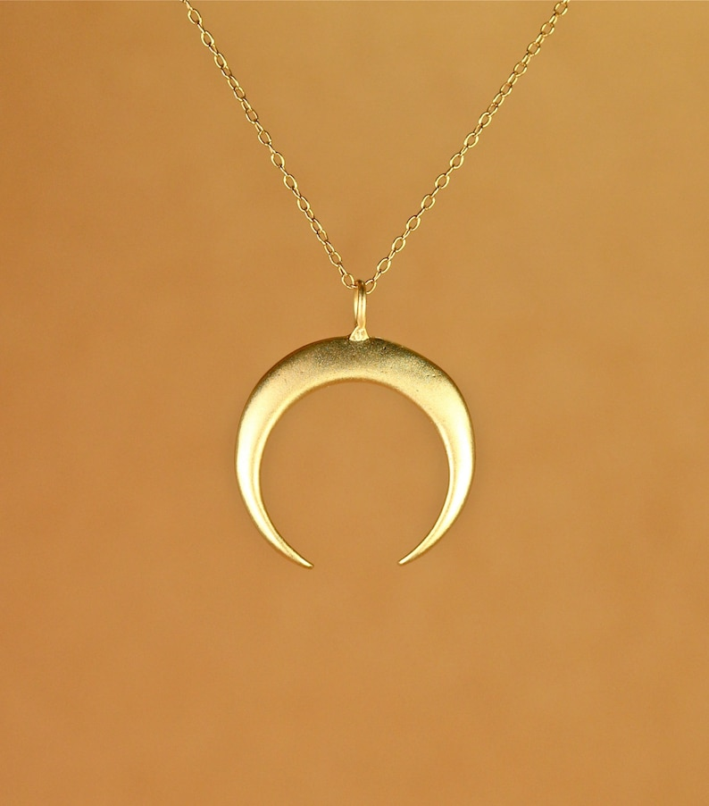 Gold crescent necklace double horn necklace moon necklace image 0