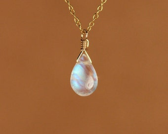 Moonstone necklace - gold moonstone - rainbow moonstone - june birthstone - a wire wrapped polished moonstone on a 14k gold filled chain
