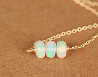 Opal necklace - fire opal - genuine opal - natural opal - three Ethiopian opals wire wrapped onto a 14k gold vermeil chain
