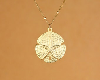 Sand dollar necklace, gold sand dollar pendant, star fish necklace, sea star jewelry, a 14k gold vermeil sanddollar on 14k gold filled chain